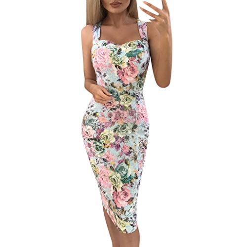 showsing-vrouwen kleding Womens Slim Fit Mouwloze Jurken, Dames Zomer Bloemen Print Kleur Blok Sexy Vintage A-lijn Maxi Mini Sundress