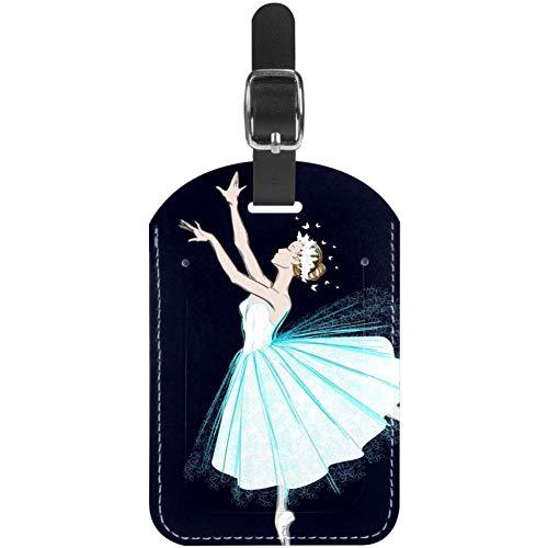 Etiquetas para equipaje, diseño de bailarina de ballet con encaje y falda de cuero para maleta de viaje, 1 paquete