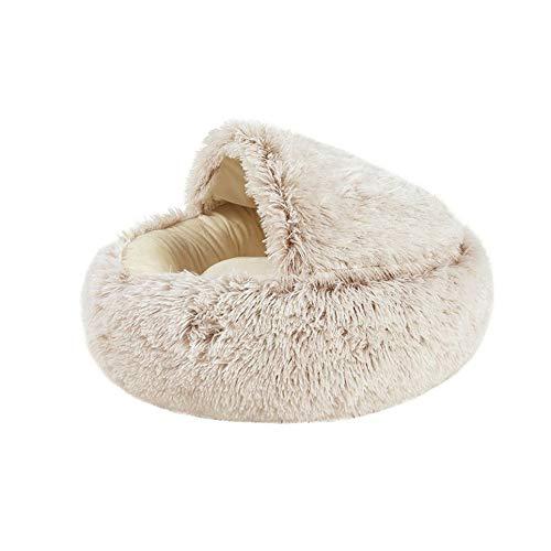 WEFH Mascota Perro Gato Cama Redonda Felpa Gato Cama cálida casa extraíble Suave Cama de Felpa Larga, marrón