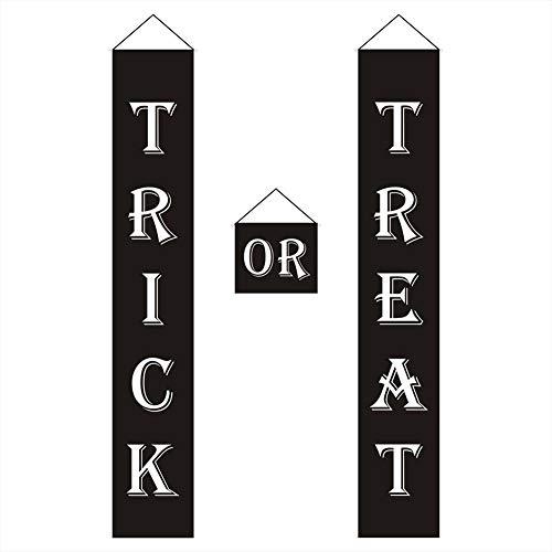 Generp Halloween-Dekor-Süßes oder Saures-Tür-Set - Halloween-Dekorations-Außenschilder - wasserdicht, sonnenbeständig, ideal für Willkommensschild-Banner drinnen und draußen, Kinder lieben es