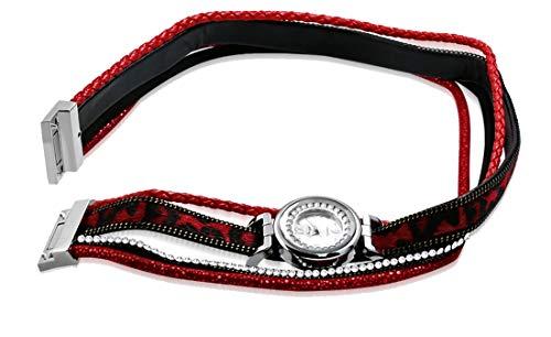 Tata Gisèle - Pulsera y reloj para mujer, color rojo y negro con cristales brillantes