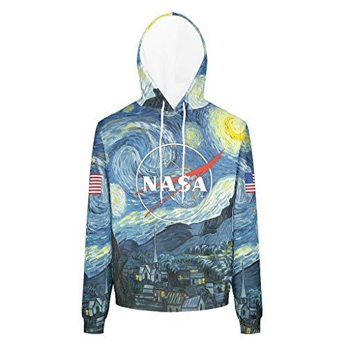 RQPPY Herren Classics Sweatshirts Hoodies NASA-Logo Slim Fit Sweatshirt Pullover Rundhals Für Jugenden White 4XL