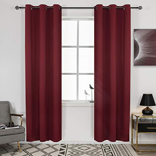 DECOVSUN Blackout Curtains for Bedroom 84 Inches Length, Thermal Insulated Blackout Curtains for Living Room, Christmas Deals Curtain Panels, Antique Grommet Burgundy Red 2 Panels 42X84 Inches