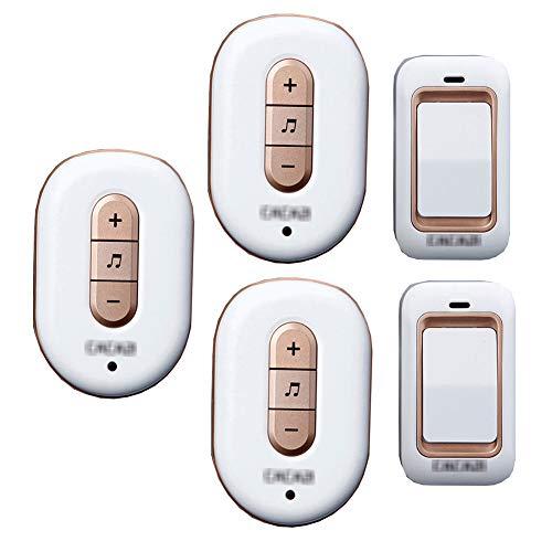 Lange afstand draadloze deurbel, intelligente IP44 waterdichte deurbelkit op afstand 36 melodie niveau 4 volume met 2 knoppen (zelfaangedreven) en 3 ontvangers,1