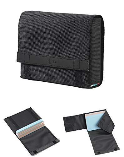 CardSkin Schutzhülle für Karteikarten (Nylon/Leder) - onyx-schwarz - flexibel anpassbar an Stapelhöhe