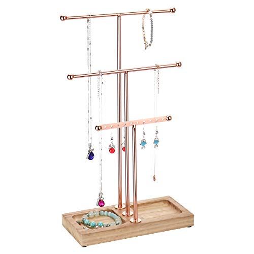 MORIGEM 3 Tier Jewelry Organizer, Multifunctional T-bar Jewelry Stand with Solid Wood Base for Bracelet, Necklace & Earring Display, Natural Color - Rose Gold
