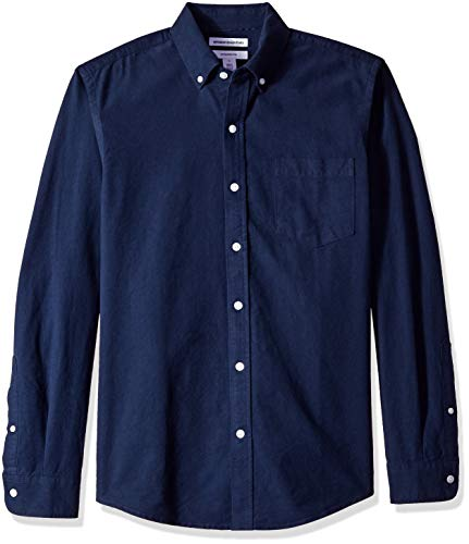 Amazon Essentials Slim-Fit Long-Sleeve Solid Pocket Oxford Camicia, Blu (Navy NAV), US S (EU S)