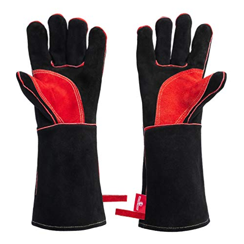 HereToGear Fireproof and Heat Resistant Welding Gloves - 14IN - Soft Leather and Kevlar Stitching - Great Accessories for Welders