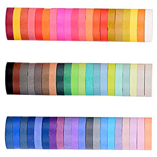 Miltie Cintas Washi Tape Washi Rainbow Washi Masking Tape Set Colores Conjunto de Cintas para Artes Manualidades Pintura Modelado Recambio Etiquetado Codificación Cinta de Conducto (60 Colores)