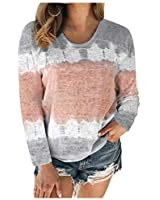 Yunmic Plus Size Women's Color Block Tie-Dye Patchwork Crew-Neck Blouses Casual Tee Tops Gray