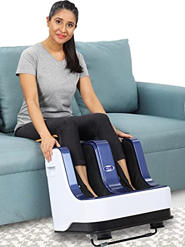JSB HF05 Ultra Leg Massager for Pain Relief in Foot & Calf with Human Hands Like Pressing, Soothing Warmth, Vibration & Reflexology Rollers (AC Powered) (White-Blue)