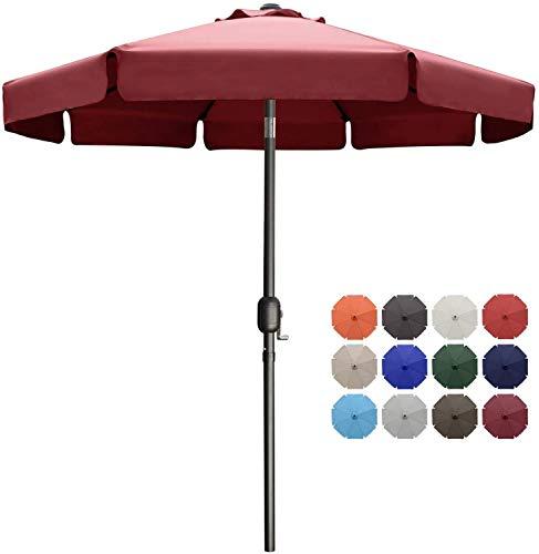 MasterCanopy 270cm Sonnenschirm Fe-Al Market Tischschirm im Freien mit 8 stabilen Rippen,Burgund