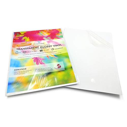 Lot de 10 feuilles A4 brillantes autocollantes transparentes et imperméables en vinyle transparent de qualité pour imprimante laser et jet d'encre