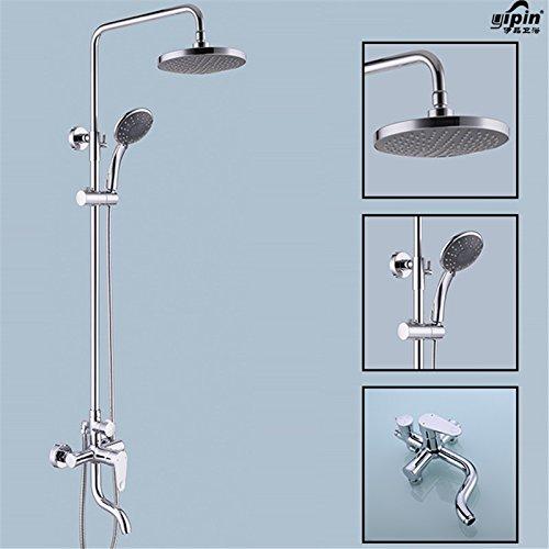 Luxurious shower En laiton finition Chrome moderne salle de bains douche pluie set robinet de douche ABS W / ABS Douchette Spray Robinet mélangeur fixé au mur,voir le graphique