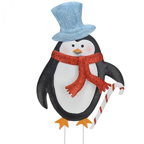Unbekannt Weihnachten Gartenstecker Weihnachten Deko Beetstecker Metall Blumentopf Winter, Variante:Pinguin