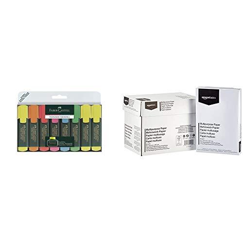 Faber-Castell 154862 Evidenziatore Textliner, (Pacco da 8) & Amazon Basics Carta da stampa multiuso A4 80gsm, 5x500 fogli, bianco