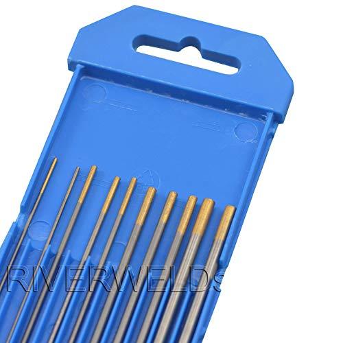 1,5 porcentaje Lanthanated WL15 Oro TIG soldadura electrodos tungsteno Tamaño variado de 1,0mm x 150mm 1,6mm x 150mm 2,4mm x 150mm 3,2mm x 150mm,10pcs