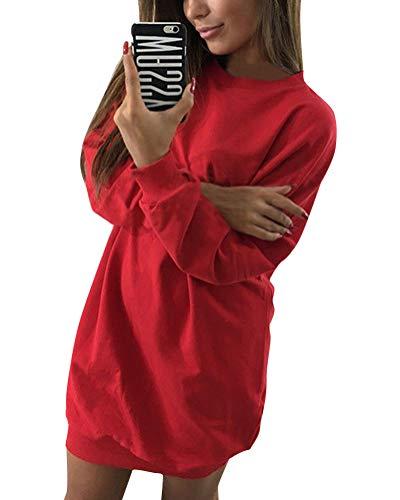 Minetom Damen Langarm Sweatshirt Herbst Winter Lange Pullover Einfarbig Pulli Sexy Oversize Tunika Mini Kleid Casual Lose Rundhals Tops Rot DE 36