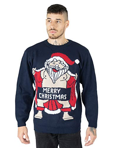 Felpa da uomo, da adulti, motivo: Babbo Natale nudo con scritta 'Merry Christmas' ricamato Naked Santa Navy X-Large