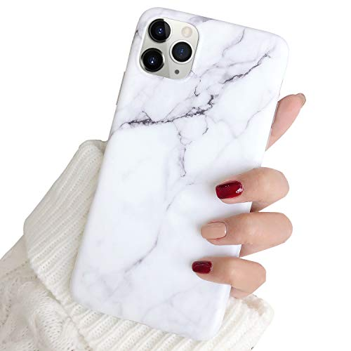 Hapitek iPhone 11 Pro Max Case, iPhone 11 Pro Max Cases, Marble Slim Soft Flexible TPU Marble Floral Pattern Protective Cover for Apple iPhone 11 Pro Max 6.5' (White)