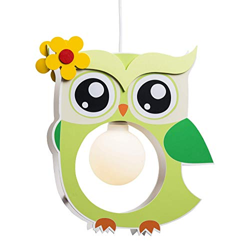 Elobra Lampada da soffitto per bambini, motivo: gufo, in legno, colore: verde chiaro, A++