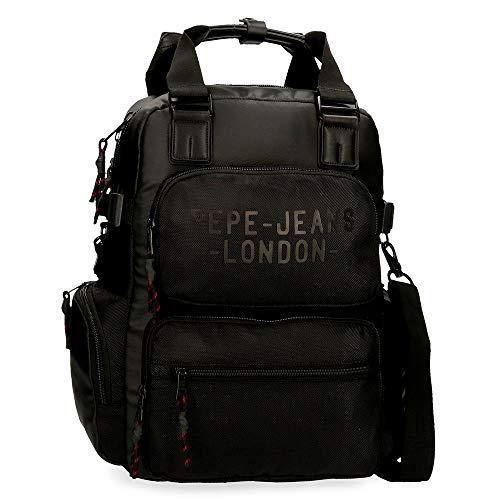 Pepe Jeans Bromley Laptop-Rucksack mit Schulterriemen Schwarz 28x41x16 cms Polyester 13,3