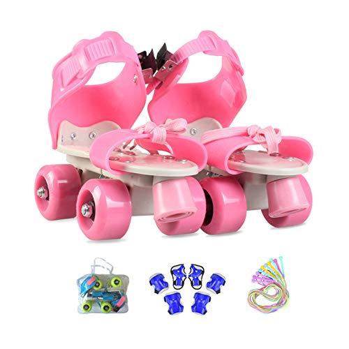 ZCRFY Patines Niña Ajustables, Patines 4 Ruedas Niño Principiante Exterior con Equipo de Proteccion,Regalos de Cumpleaños para Niños,Pink2-(25-36) Code