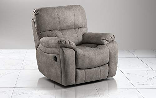 Armchair with manual recliner. Faux leather nubuck elephant effect (cm. 109 x 105 x 105h)
