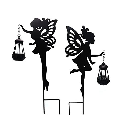 Linterna solar al aire libre, paquete de 2 lámparas solares para césped de jardín, luz decorativa de hierro LED, luces blancas cálidas, para el patio del césped del jardín del hogar
