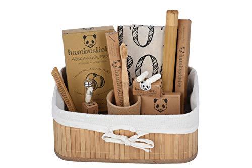 bambusliebe - DAS ORIGINAL - Bambus-Geschenkkorb - 7 wiederverwendbare Abschminkpads, Bambus-Zahnbürste, 100 Bambus-Wattestäbchen, 90 m vegane Zahnseide, Zahnbürstenetui, Zahnputzbecher & Tragetasche