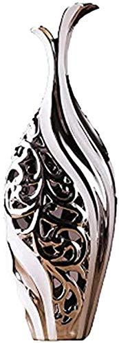 Jarrones Floreros Vaso de Piso cerámico Hueco de Luces y Resistente Decorativo de Estar Sala de Estudio Blanco 2 Piezas