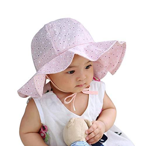 LACOFIA Baby Sonnenhut Neugeborene Mädchen Prinzessin Mütze Baumwolle Kleinkind Strand Fischerhut mit Verstellbarem Kinnriemen Rosa 0-12 Monate