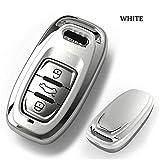 QCTDM Autoschlüssel Abdeckung Für fob schlüsselanhänger Halter autoschlüssel Fall Abdeckung für Audi b6 b7 b8 a4 a5 a7 a8 q5 q7 r8 tt s5 s6 s7 s8 sq5 rs5 schützen Shell Bag, weiß