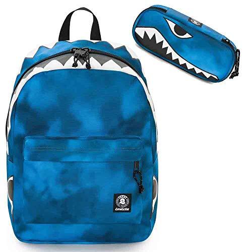 """Zaino Invicta scuola free time squalo perky pack 206001928 blu Gash porta pc 13"""" con astuccio coordinato round portapenne pencil bag 306021929 elementari medie superiori"""