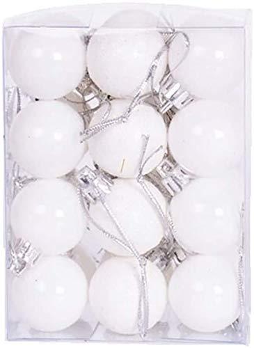 Yansanido Super Mini 24pcs Small Christmas Ball 3cm /1.18 inch Mini Ornaments Shatterproof Desktop Christmas Tree Balls Multicolor Pastel Tree Ornaments Pendant (White)