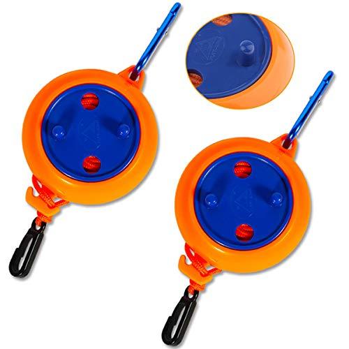 Xiuyer Wäscheleine Ausziehbar, 2 Stück Tragbare Wäscheleine mit Hängender Schnalle 8M Camping Drying Clothes Rope für Badezimmer Balkon Garten Drinnen Draußen – Orange