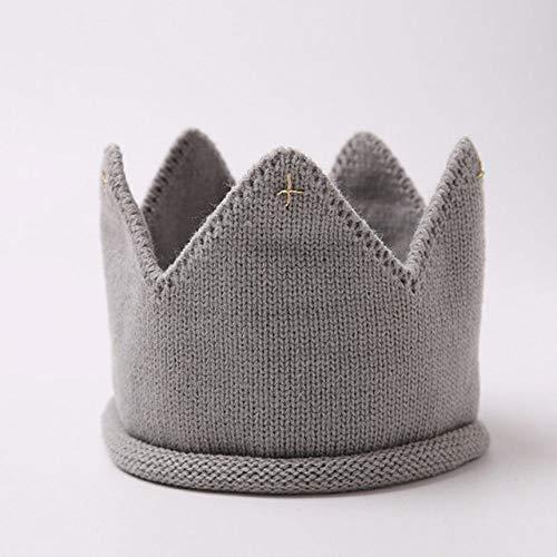 PZNSPY kroon baby muts fotografie rekwisieten herfst winter breien pasgeborenen baby jongen hoed turban kleine kinderen beanie cap enfant style1 Grau