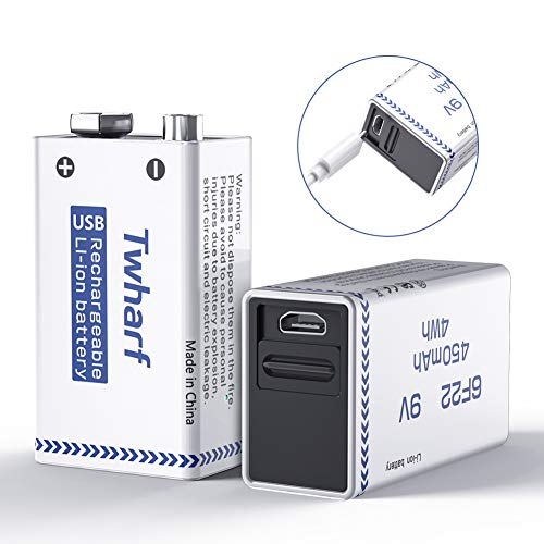 Twharf USB Rechargeable 9V Lithium Battery 450mAh 9V Battery Rechargeable
