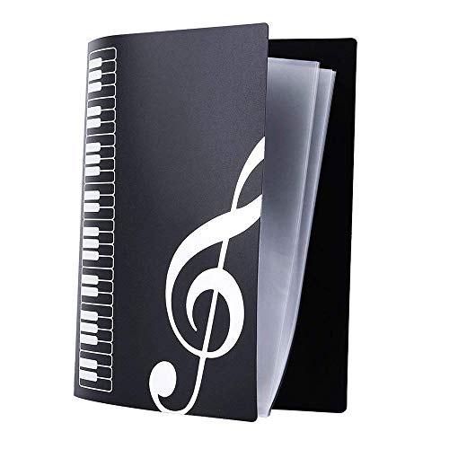 GZQ Notenmappe mit 40 Fächern, für Bücher, Liedblätter, Aufbewahrung, A4 Schwarz