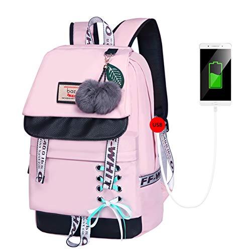 Neusky Vintage Canvas Rucksack Laptoprucksack Retro Schulrucksack Backpack Daypack für Uni, Laptop, Wandern, Outdoor Sport, Freizeit, Einkaufen mit der großen Kapazität (Nylon-Pink)