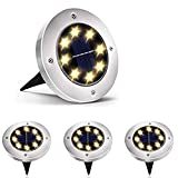 Luces Solar de Tierra Luz 8 LED, WZTO 1000LM Luces Solares Jardin Impermeable...
