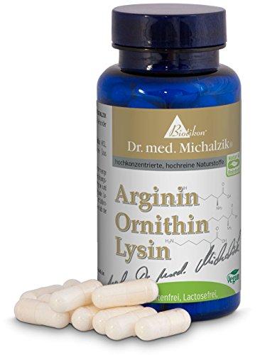 Arginina Ornitina Lisina secondo il Dr. med. Michalzik - 90 capsule - ogni capsula contiene 200 mg di L-Arginina HCL, 150 mg di L-Ornitina HCL e 200 mg di L-Lisina HCL - senza additivi - di BIOTIKON
