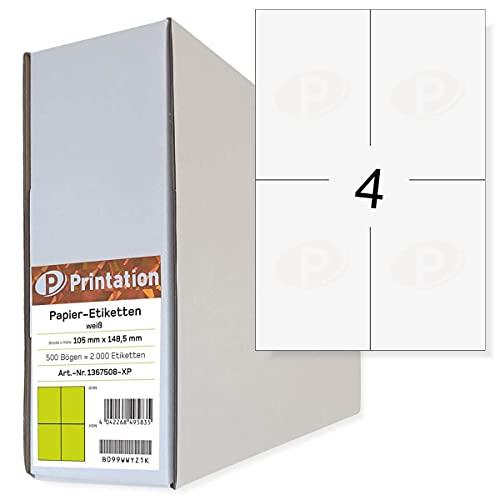 Etichette universali, 105 x 148,5 mm, DIN A6, stampabili, autoadesive, bianco, 500 fogli A4 2 x 2 105 x 148,5 mm, etichette adesive per spedizioni 3483 6120 4476