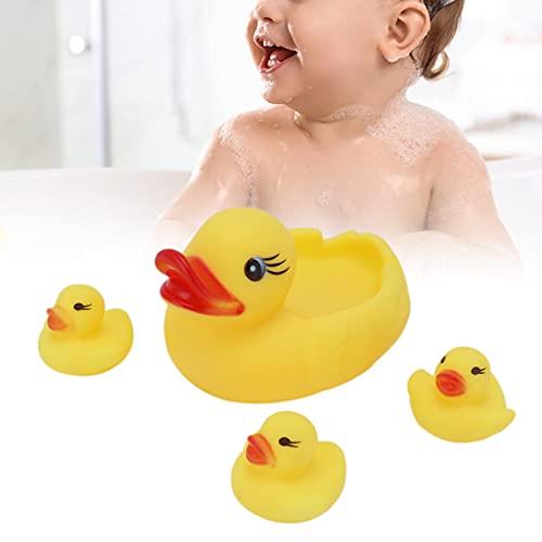 Juguete flotante de la bañera, bañera del pato para el color brillante 4pcs del juguete del baño del pato del bebé para bañarse(Vinyl yellow duck)