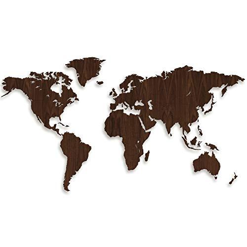 Giallobus - Mappa del Mondo - Decorazione da Parete in Legno di Noce - 190X105 CM