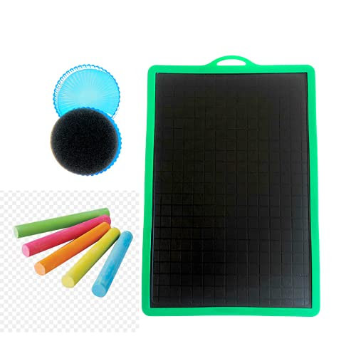 Lavagna Per Bambini - Lavagna Nera 170mm x 250 mm + Cancellino + 5 Gessetti Colori Assortiti