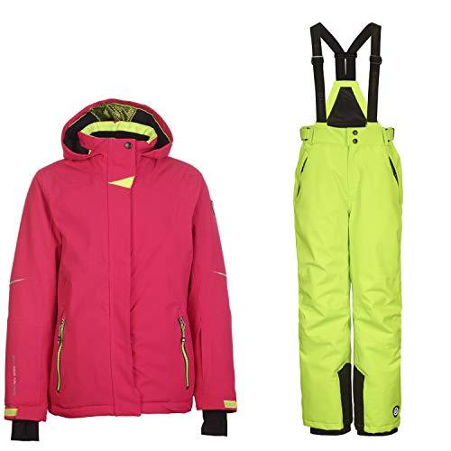 Killtec Skianzug Kinder Mädchen zweiteilig Wasserdicht und Winddicht Pink-Lime, Kinder Größen:164