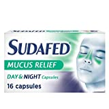Sudafed Mucus Relief Day and Night Capsules, Cold & Flu Capsules, Gets to Work in 15 Minutes, Pack of 16