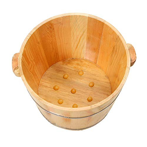 Check Out This QULONG Household Cedar Wood Insulation Footbath, Double Ear Thickened with Massage Be...