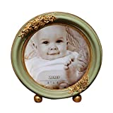 SIKOO Vintage Round Picture Frame 4x4 Baby or Family Tabletop Photo Frame Friends Gifts, Antique Home Decor, Green